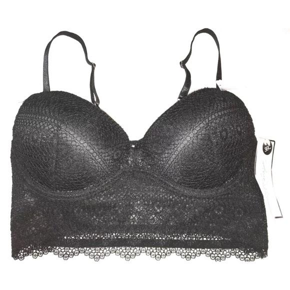 165f2483a10c2 Crochet Lace Push Up Long Line Pull On Bra